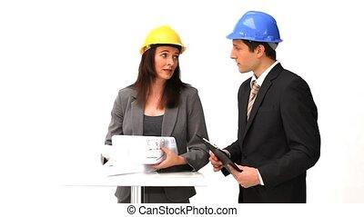 architectes, sur, conversation, plan, construction