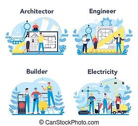 architecting, set., profesión, ingeniería, construcción, ...