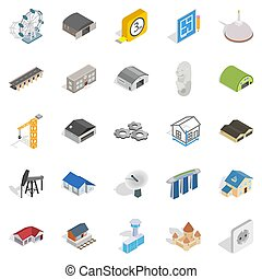 Architectonics icons set, isometric style