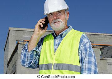 architector, モビール, 区域, 人, 持つこと, 屋外, 建設, 会話