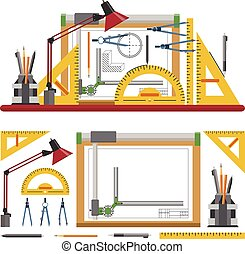 Architects and designer workplace vector illustration in flat style. Drawing tools, board, instruments isolated on white background.