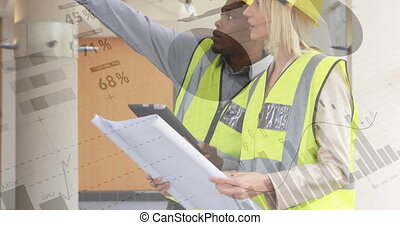 Architects checking building plans 4k