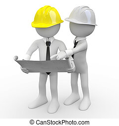 Architects - Chief architect looking at plans while another...