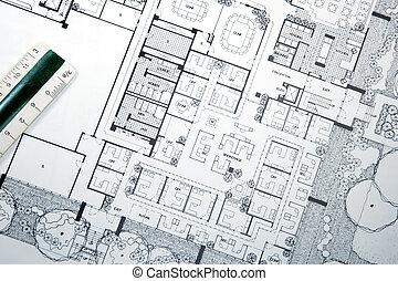 architect\'s, dibujo, y, planes