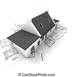 Architect?s model house on top of blueprints