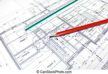 Architect\'s plan - A buildings plan designed by an...