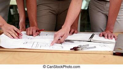 Architects studying blueprints