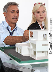 Architects with a 3D model
