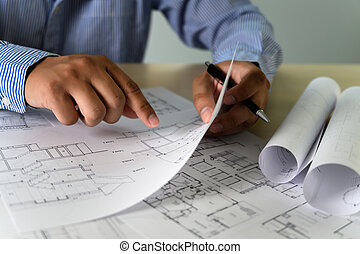 Architects working laptop interior Architect workplace Construction concept tools