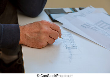 Architects working on blueprint, real estate project. Architect workplace architectural project, blueprints,