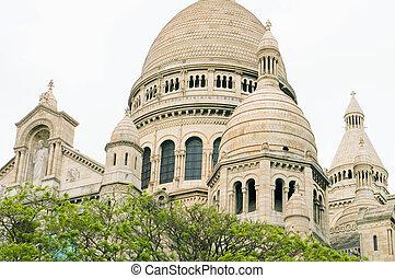 architectual, detalle, basílica, de, corazón sagrado, coeur de sacre, en, montmartre, parís francia