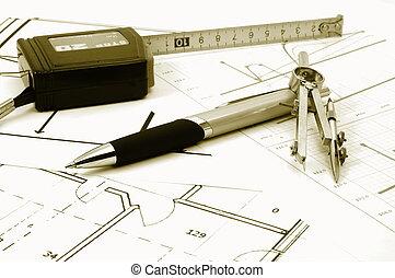 architectur , διάγραμμα , από , κατοικητικός , ακίνητη περιουσία