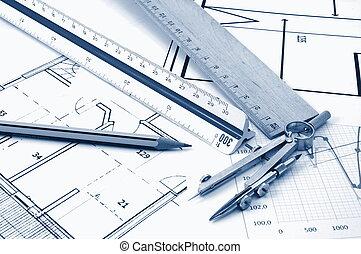 architectur, planer, av, bostads, verkligt gods