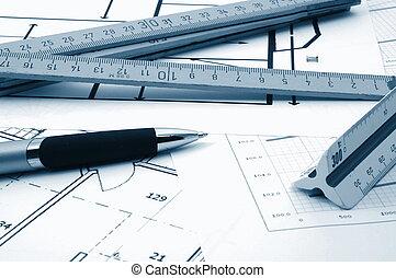architectur, planes, de, residencial, bienes raíces