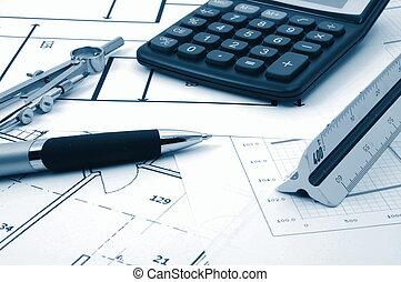 architectur, plannen, van, woongebied, vastgoed