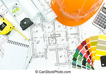 architecturaal, achtergrond, met, werken, gereedschap