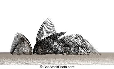 architecturaal, tijdgenoot, vormen