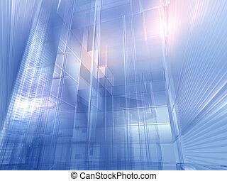 architecturaal, zilver, blauwe