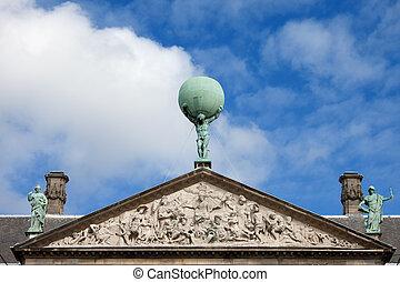 architectural, amsterdam, royal, détails, palais