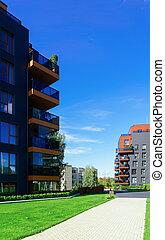 Architectural apartment buildings complex
