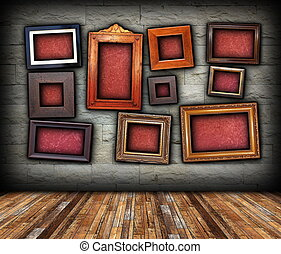 architectural backdrop with frames for your message -...