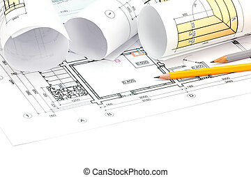 architectural background with blueprint, rolls and pencils