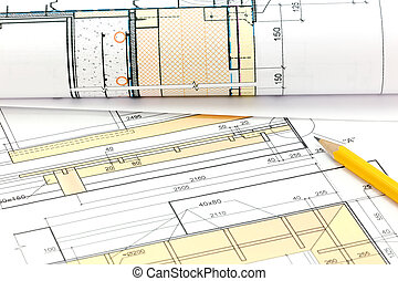 architectural background with blueprint rolls and technical drawing