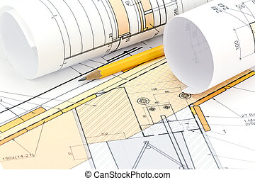Architectural blueprint rolls with plan and pencil rolls of architectural background with blueprint rolls house plan and pencil malvernweather Images