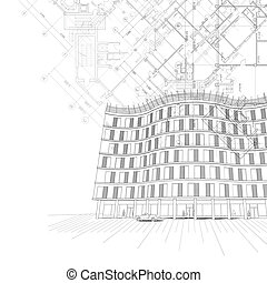 Architectural background with building and plans