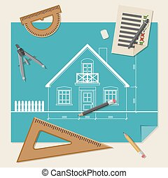 Architectural background with drawing equipment.