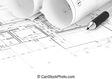 architectural background with floor plan, blueprints rolls and pencil