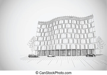 Architectural background with multistory building