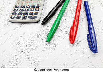 Architectural blueprint and calculator