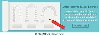 Architectural blueprint archs banner horizontal concept