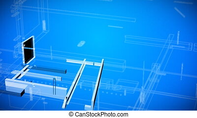 3d Achitectural blueprint Drawings showing a house being built from the ground upwards