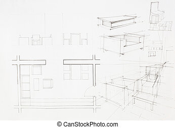 architectural blueprint of dinning area - architectural plan...