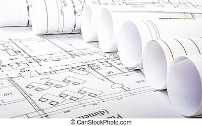 Architectural blueprint rolls