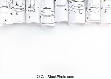 architectural blueprint rolls on white background