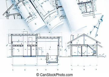 architectural blueprint, rolls with drawing compass