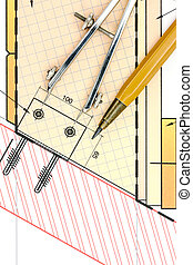 architectural blueprint with drawing tools closeup