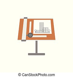 Architectural blueprints and tools on a drawing board, workplace of architect vector Illustration on a white background