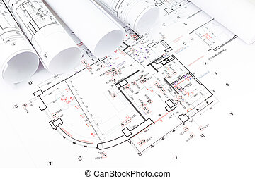 Stacked rolls of architectural drawings and house plans stock architectural blueprints rolls rolls of architectural house plans malvernweather Images