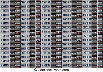 architectural, boîte, modèle, gratte-ciel, balcons, façade, fleur