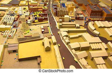 architectural breadboard model of the industrial district with models of cars