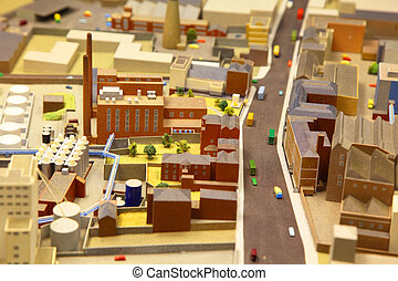 architectural breadboard model of the industrial district...