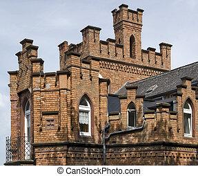 architectural brick house detail in Miltenberg