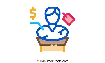 architectural bust sale Icon Animation. color architectural bust sale animated icon on white background