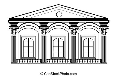 Architectural Classic House Facade With Corinthian Columns