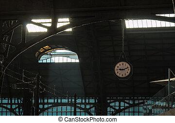 architectural, classique, montre,  train, fer, toit,  station,  structure