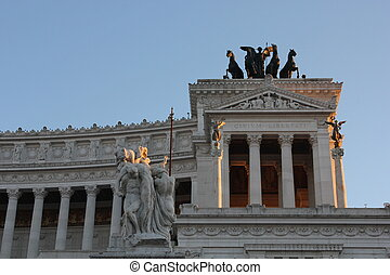 Architectural close up of the side of the Altar of the Fatherland, Rome